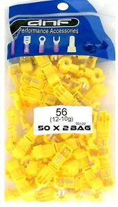 100-PACK-YELLOW-12-10-GAUGE-T-TAPS-QUICK-SPLICE-ELECTRICAL-TERMINALS-WIRING