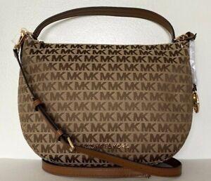 New-Michael-Kors-Bedford-Medium-Shoulder-Bag-Jacquard-Beige-Ebony-Luggage