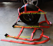Car Basket Straps Adjustable Tow Dolly DEMCO Wheel Net Set Flat Hook Rx2 Orange