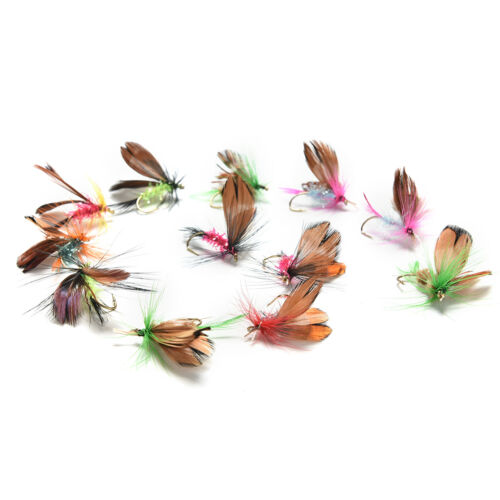 12Pcs Wet Dry Trout Flies Fly Fishing Bass Lure Hook Stream Vintage Tackle/_sh