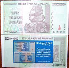 15X ZIMBABWE 50 TRILLION | COA INCLUDED | UNCIRCULATED | 2008 AA | 100% GENUINE