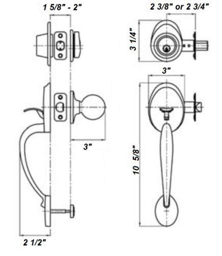 Oval Style Exterior Door Handleset w//Interior Ball Knob Door Lock Polished Brass