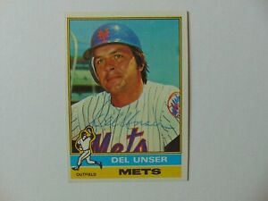 New York Mets Del Unser Hand Signed Baseball Card Signature