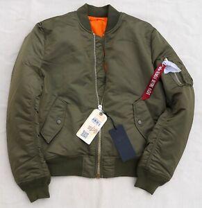 ALPHA-INDUSTRIES-MA-1-Slim-Flight-Jacket-Bomber-Pilot-Reversible-Vintage-Olive-L