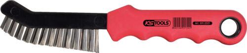 KS Tools Stahldraht-Bremssattel-Drahtbürste 2-reihig spitz