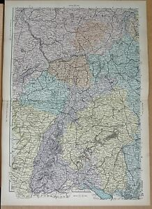 1890 LARGE VICTORIAN MAP GERMANY SOUTH WEST DARMSTADT KOBLENZ