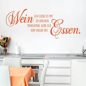 Wandtattoo Ich liebe es mit Wein zu kochen… Spruch Essen, Küche von ...