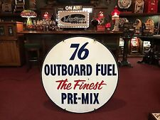 "42"" Double-Sided Porcelain UNION 76 Outboard Boat Gasoline Sign ""Watch Video"""