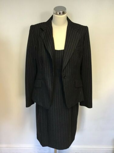 Jacket Business 14 Suit Size Grey Pencil Dark Dress Bennett Lk Pinstripe Wool amp; qgFU88c