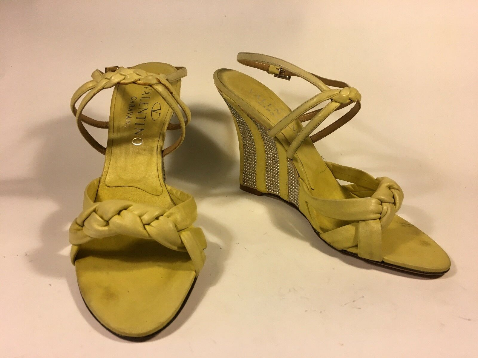 Valentino, wedge woven striped yellow Leder with crystal striped woven heel detail 24 d5110c