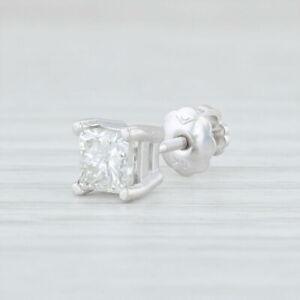 Single-0-47ct-Diamond-Stud-Earring-14k-White-Gold-Princess-Solitaire