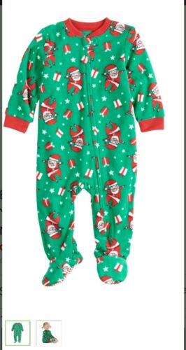 Details about  /Baby Jammies For Your Families Santa Pattern Microfleece 1 piece pajamas NEW