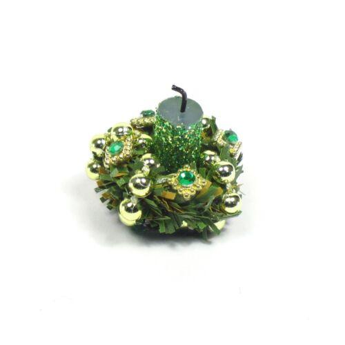 Green Diamond WMH Miniature Dollhouse Christmas Candle Centerpiece