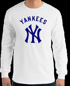 NY-YANKEES-New-York-White-Long-Sleeve-T-Shirt-Navy-Graphic-Cotton-Unisex-S-2XL