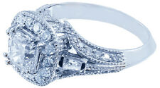 18k White Gold Cushion Cut Diamond Engagement Ring Antique Halo Pave Deco 1.30ct
