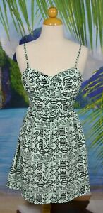 FOREVER 21 Pale Mint Black Patterned Dress Small Adjustable Spaghetti Straps