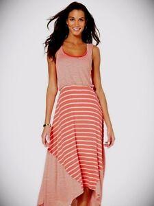 6e166657793e Style & Co.-Layered Striped Pattern Handkerchief Hem Dress,Coral, XL ...