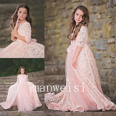 Pink Lace Tulle Flower Girl Princess Kid Party Pageant Wedding Birthday Dress