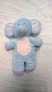 "11"" Russ Baby ELEPHANT RATTLE soft velour blue purple plush stuffed toy"