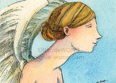 ACEO PRINT spiritual watercolor painting fantasy drawing Angel Profile