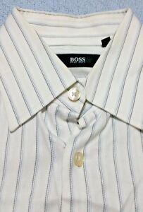 Hugo-BOSS-Dress-Shirt-15-5-39-White-Blue-Striped-Long-Sleeve-100-Cotton