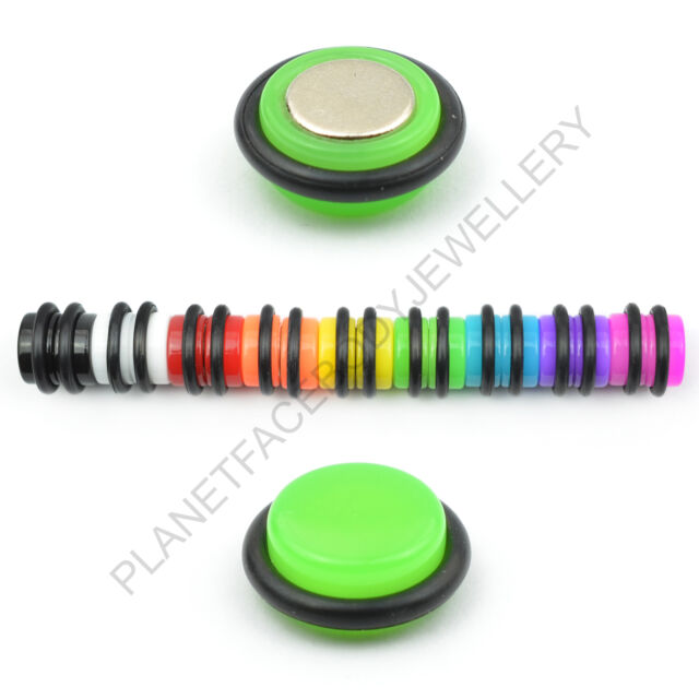 6MM 8MM MAGNETIC NON PIERCING FAKE PLUG CHEATER ILLUSION STRETCHER EARING