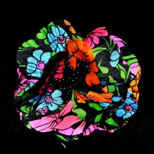 "4/"" Black /& Neon Multi Color Silk Flower Pin~Hat~Crown~Hair~Women/'s Accessory"
