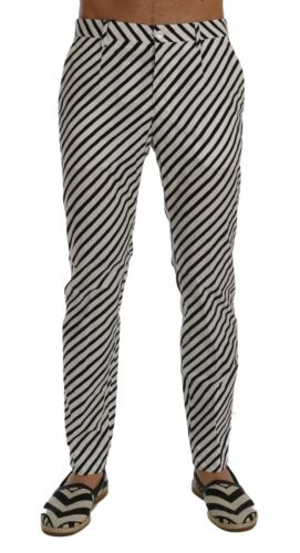 Dolce Nero Pantaloni it54 Bianco In Righe Cotone Nuovo Slim W38 A Gabbana S qIpgIw