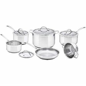 10 Piece Stainless Steel Cookware Set, with Glass Lids