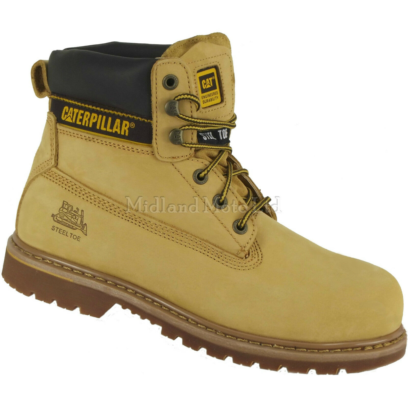 Caterpillar Holton Safety SB Steel Toe Cap Safety Holton Honey Nubuck Boots, CAT, Shoes 9ec93e