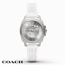 coach watch outlet 7poi  NWT Coach Women's Watch Boyfriend White Silicone Print Silver SS 14502093
