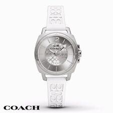 coach watch outlet 7poi  NWT Coach Women's Watch Boyfriend White Silicone Print Silver SS 14502093