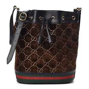Gucci-Ophidia-GG-Monogram-Brown-Velvet-Blue-Calfskin-Leather-Bucket-Shoulder-Bag