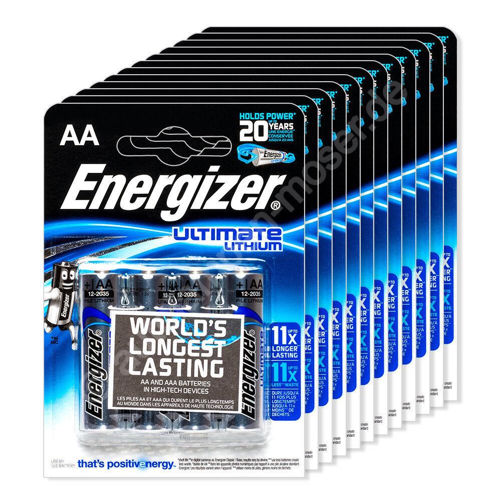 48x Mignon AA / LR06 - Batterie, Energizer Ultimate Lithium, 1,5V, 12x 4er Blist