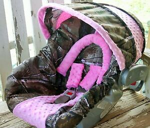 Realtree Camo W Baby Pink Minky Infant Car Seat Cover And Hood Cover Headsuppor Ebay