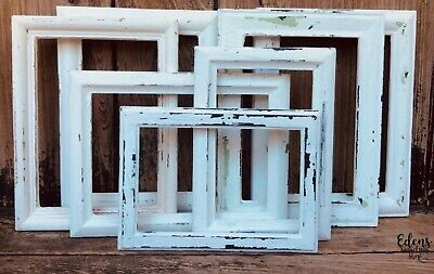 FRAME SET of 6 WHITE SIMPLE PETITE SHABBY COTTAGE BOHO CHIC ~ Gallery Style~
