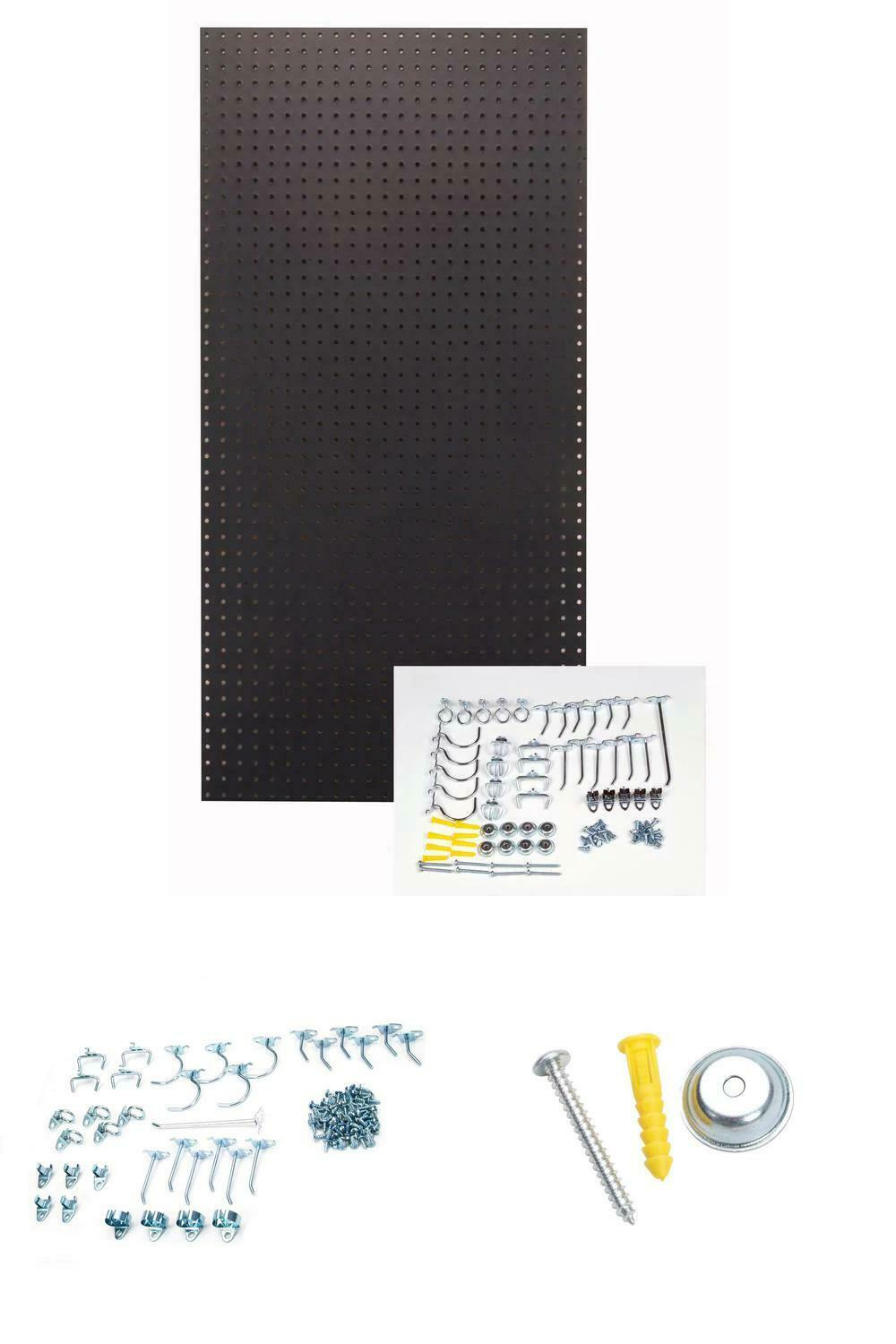 1/4 In. Custom Painted Jet Black Pegboard Wall Organizer With 36-Piece Locking H
