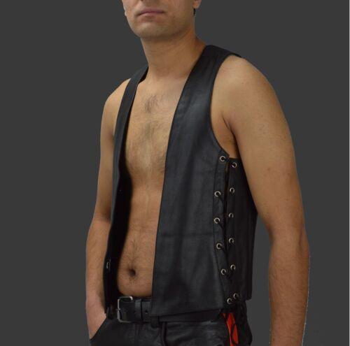 chemise lederweste Waistcoat Cuir Aw678 Cuir veste Biker Up lederhemd Lace vzHqaI