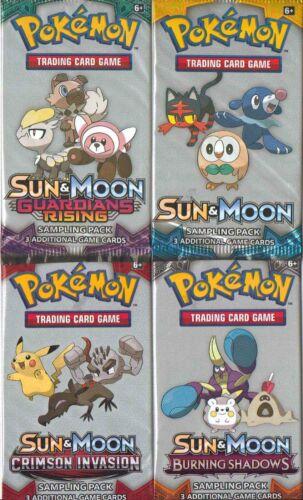 3 CARDS PER PACK SUN /& MOON GUARDIANS CRIMSON BURNING POKEMON 20 SAMPLING PACKS