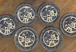Japanese-Porcelain-plates-blue-and-white-9-5-034-with-Japan-mark-set-of-six