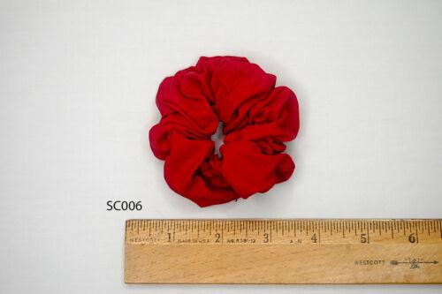 Silk Scrunchies Ponytail Holder Elastic Ties Hair Band Strawberry Red Carmine 06