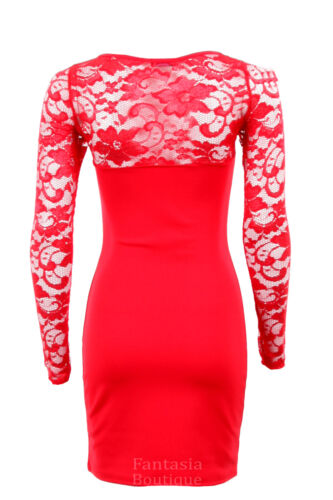 New Ladies Cut Out Front Long Sleeve Lace Front Back Bodycon Women/'s Dress 8-16