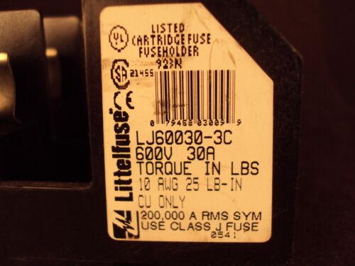 LITTELFUSE Fuse Holder  ACS 600V CLASS J BLOCK 30A 3 POLE LJ600303C