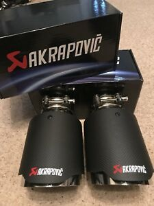 2-X-UNIVERSAL-3-5-034-AKRAPOVIC-STYLE-DRY-CARBON-FIBRE-EXHAUST-TIP-TAILPIPE-STEEL