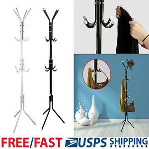 12-Hooks-Coat-Rack-Hat-Stand-Tree-Clothes-Hanger-Umbrella-Holder-Metal-Organizer