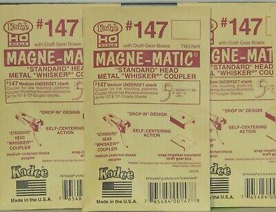 Kadee HO Scale # 146 Long Centerset Shank Metal Knuckle Couplers 2Pr NEW 4Pks