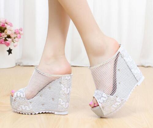 Womens Open Toe Platform Wedge Heel Rivet Slingbacks Mesh Summer Sandals Shoes