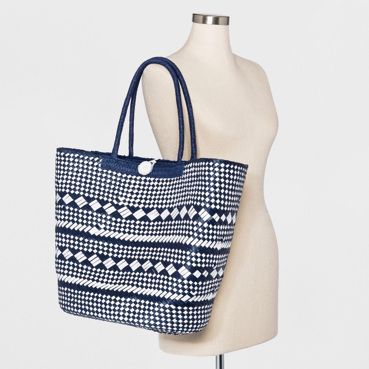 48a444f45bb Plaid Straw Tote Handbag - a Day Black/natural