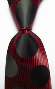 New-Classic-Striped-Dot-Black-Red-JACQUARD-WOVEN-100-Silk-Men-039-s-Tie-Necktie