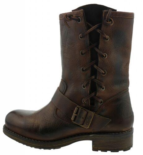 106207-1588 Buffalo London Boots Biker Slip On Boots Pelle Marrone EUR 36